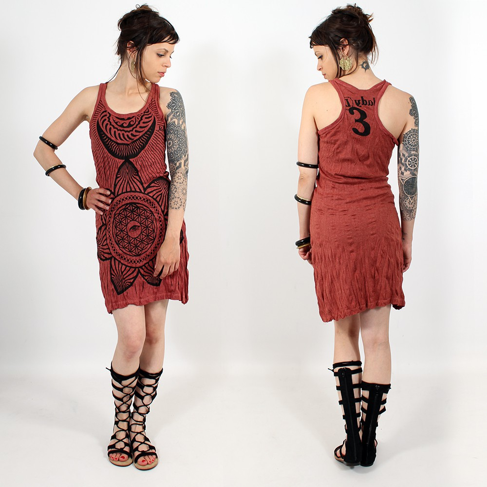 """Sacred Geometry\"" dress, Dark red"