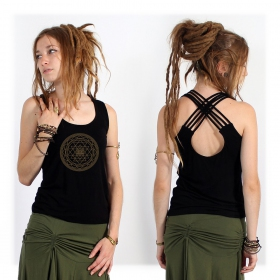 Sacred Geometry top black, tank top with yantra pattern perfect for yoga practice, yoga top sri yantra clothing festival
