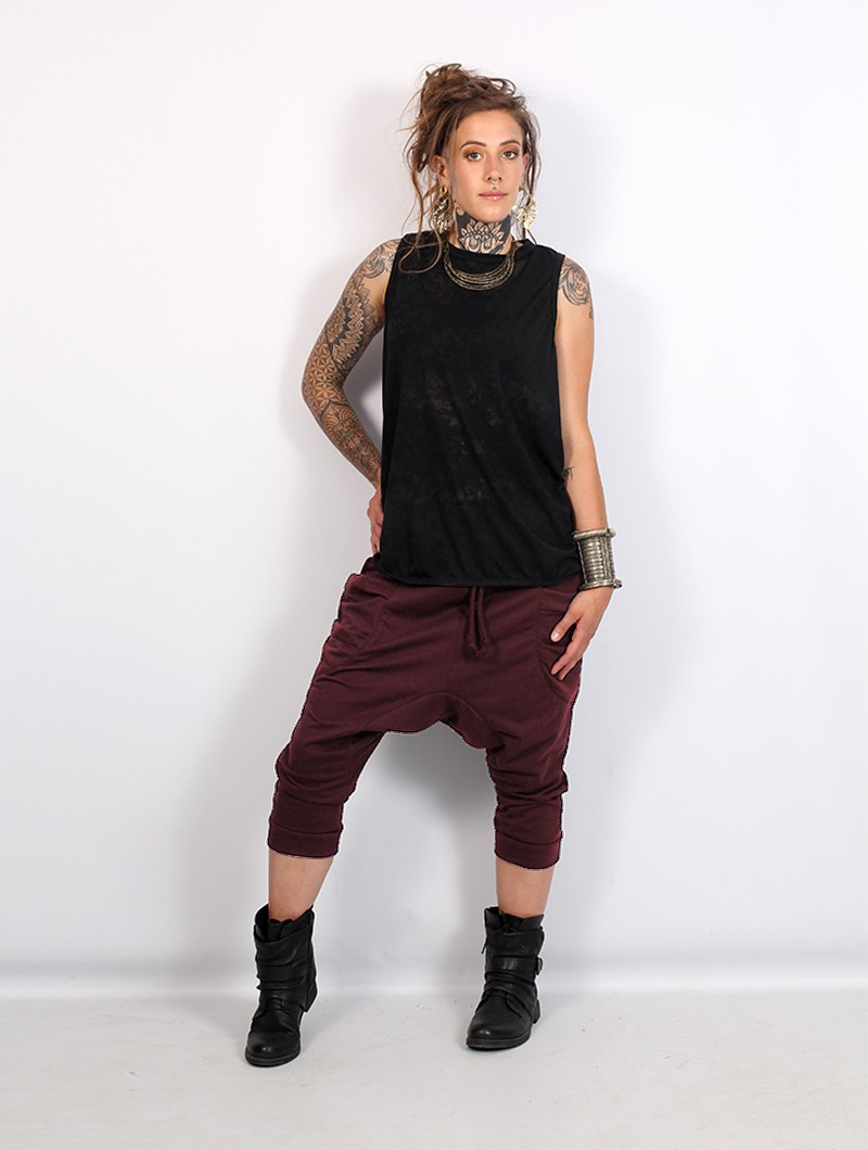 """Safar\"" unisex 3/4 Harem pants, Wine"