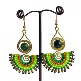 "\""Sajala\"" ethnic golden brass earrings with beads and stones"