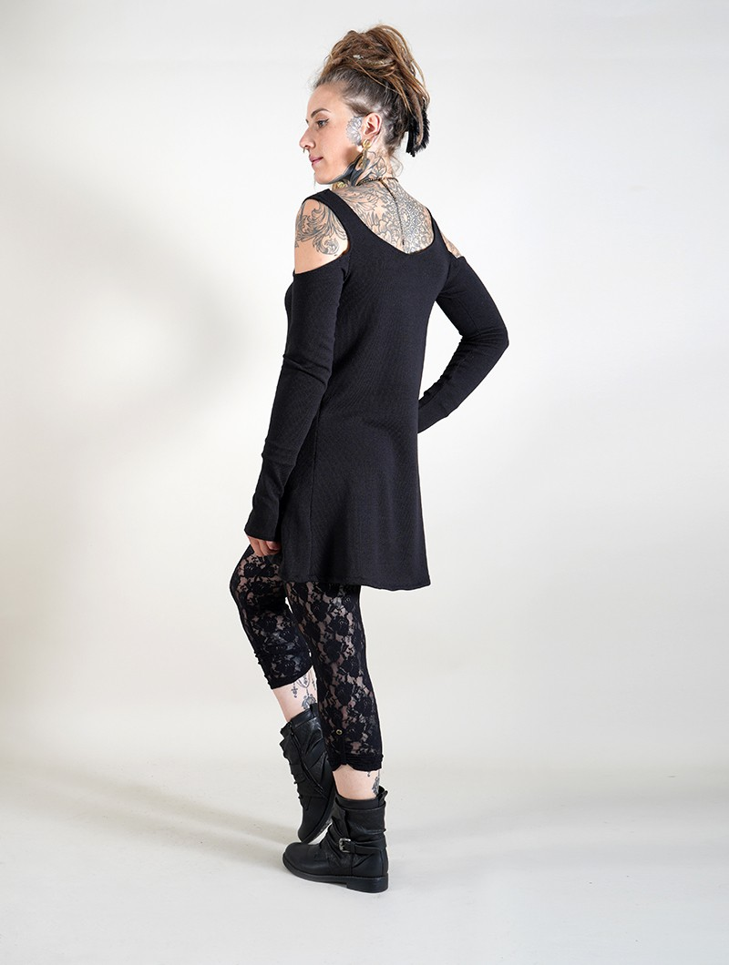 """Salem\"" bare shoulder long sleeve dress, Black"