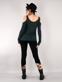 """Salem\"" bare shoulder long sleeve top, Dark teal blue"