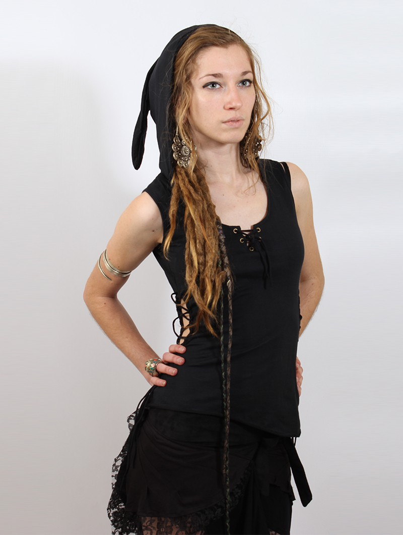"\""Sanjana\"" pixie hood Top, Black"