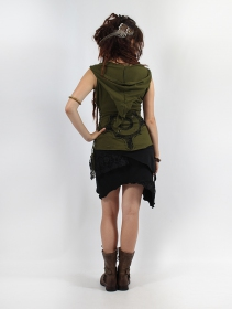 """Sanjana\"" pixie Hood Top, Khaki green"