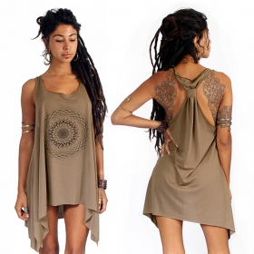 """Sapana\"" knotted tunic, Brown and black"