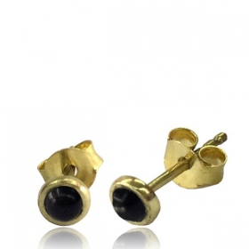 "\""Saral Onyx\\\"" Brass earrings"