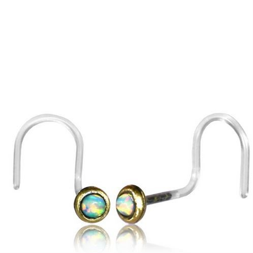 Saral Opal Nose Stud With Curved Stem