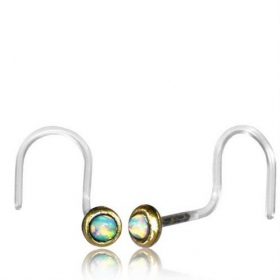 "\""Saral Opal\\\"" nose stud with curved stem"