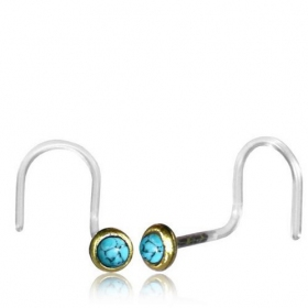 "\""Saral Turquoise\\\"" nose stud with curved stem"