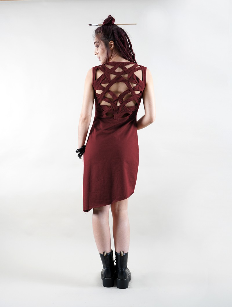 """Sarasvati\"" sleeveless dress, Wine"