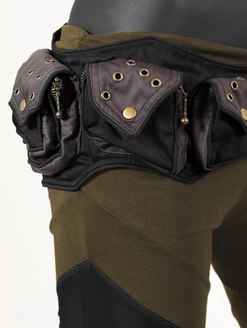 "\""Saraswath\"" pocket belt, mix Black and Grey"