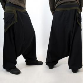 "Sarouel \""Sunita\"", Black and khaki"