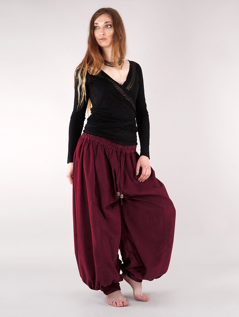 """Satyam\"" Gender neutral corduroy harem pants, Wine"