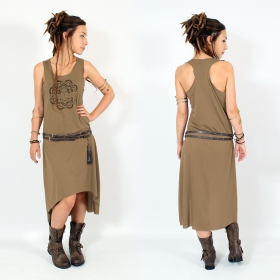 "\""Scarab mandala\\\"" asymmetric dress, Brown and gold"
