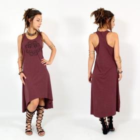 "\\\""Scarab mandala\\\"" asymmetric dress, Mottled wine and black"