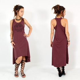 "\""Scarab mandala\\\"" asymmetric dress, Mottled wine and black"