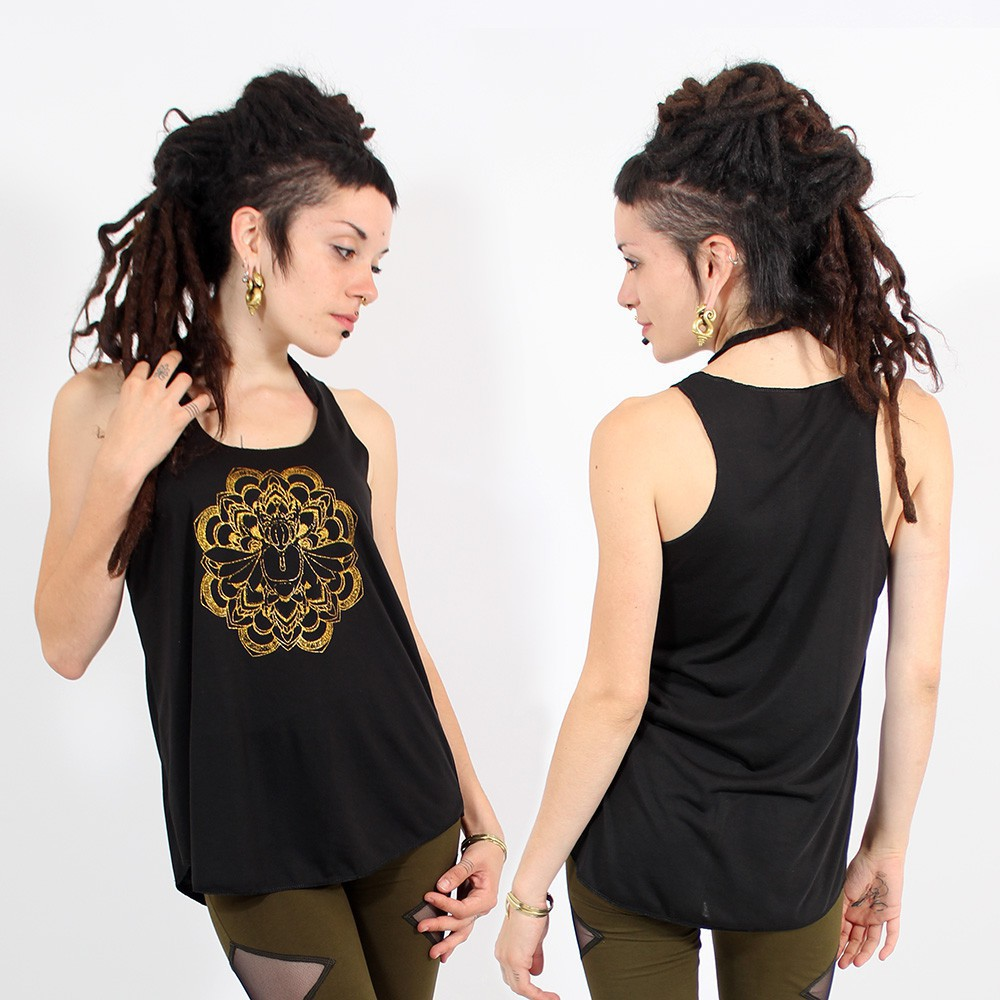 """Scarab mandala\"" tank top, Black and gold"