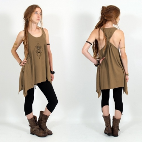 """Scarab spirit\"" knotted tunic, Brown and black"