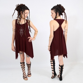 """Scarab spirit\"" knotted tunic, Wine and silver"