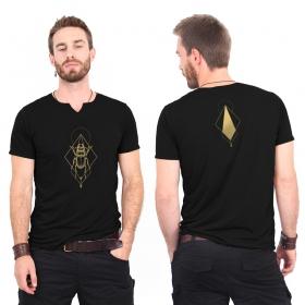 "\""Scarab spirit\"" slit v-neck t-shirt, Black and gold"