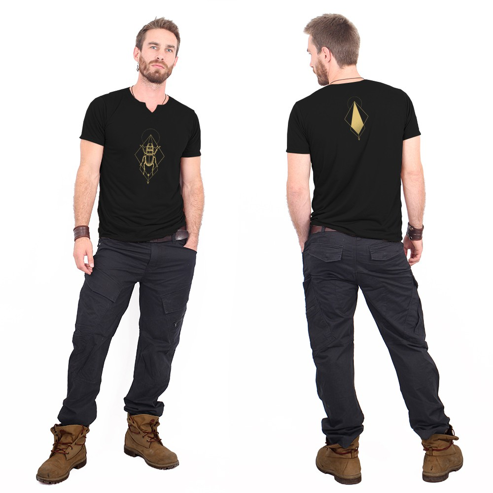 """Scarab spirit\"" slit v-neck t-shirt, Black and gold"