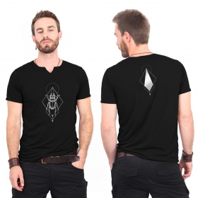 """Scarab spirit\"" slit v-neck t-shirt, Black and silver"