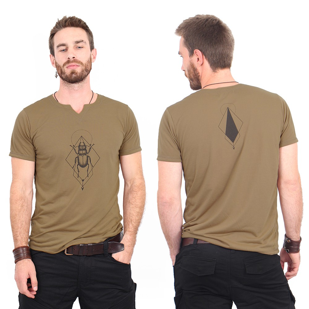 """Scarab spirit\"" slit v-neck t-shirt, Brown and black"