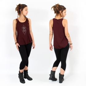 """Scarab spirit\"" tank top, Wine and silver"
