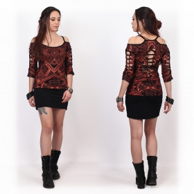 """Sedna Africa\"" top, Black with copper prints"