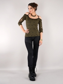 """Sedna Peafowl\"" long sleeve top, Olive green"