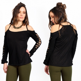 """Sedna plain\"" long sleeves top, black"