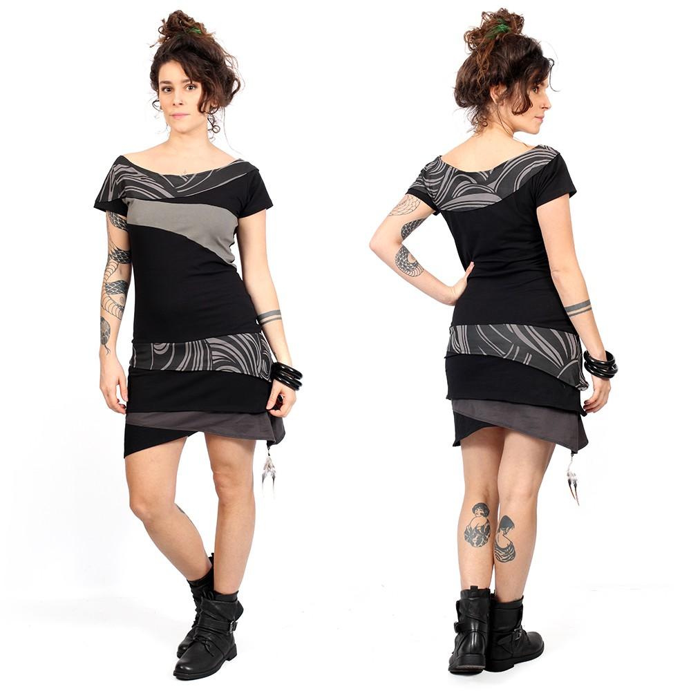 "\""Sensa\"" dress, Black and grey"