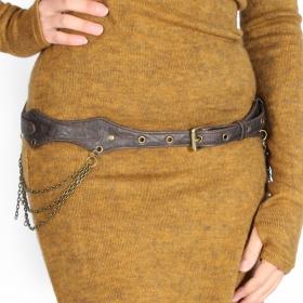 "\""Shakti\"" belt, Brown - Genuine or faux leather"