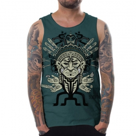 "\""Shaman head\"" sleeveless Boom PlazmaLab t-shirt, Turquoise"