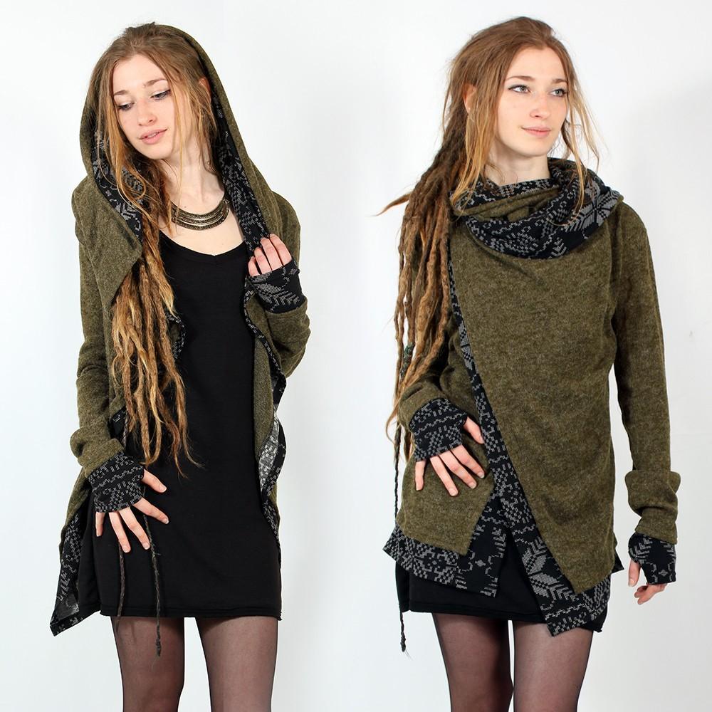 """Shawl pullover Witch \\\""""Namkha Heimaey\\\"""", Kaki"""