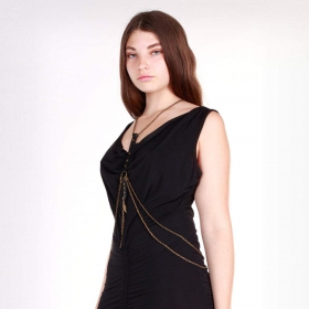 """Shibari\"" body chain, Black leather"