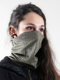 "\""Shipibo-Conibo Glow\"" face mask / neck warmer, Phosphorescent prints"