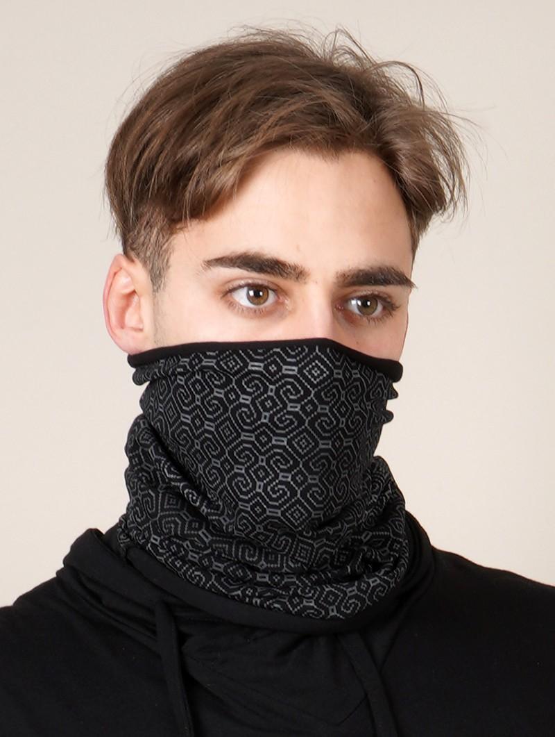 "\""Shipibo-Conibo Glow\"" Gender neutral face mask / neck warmer, Phosphorescent prints"