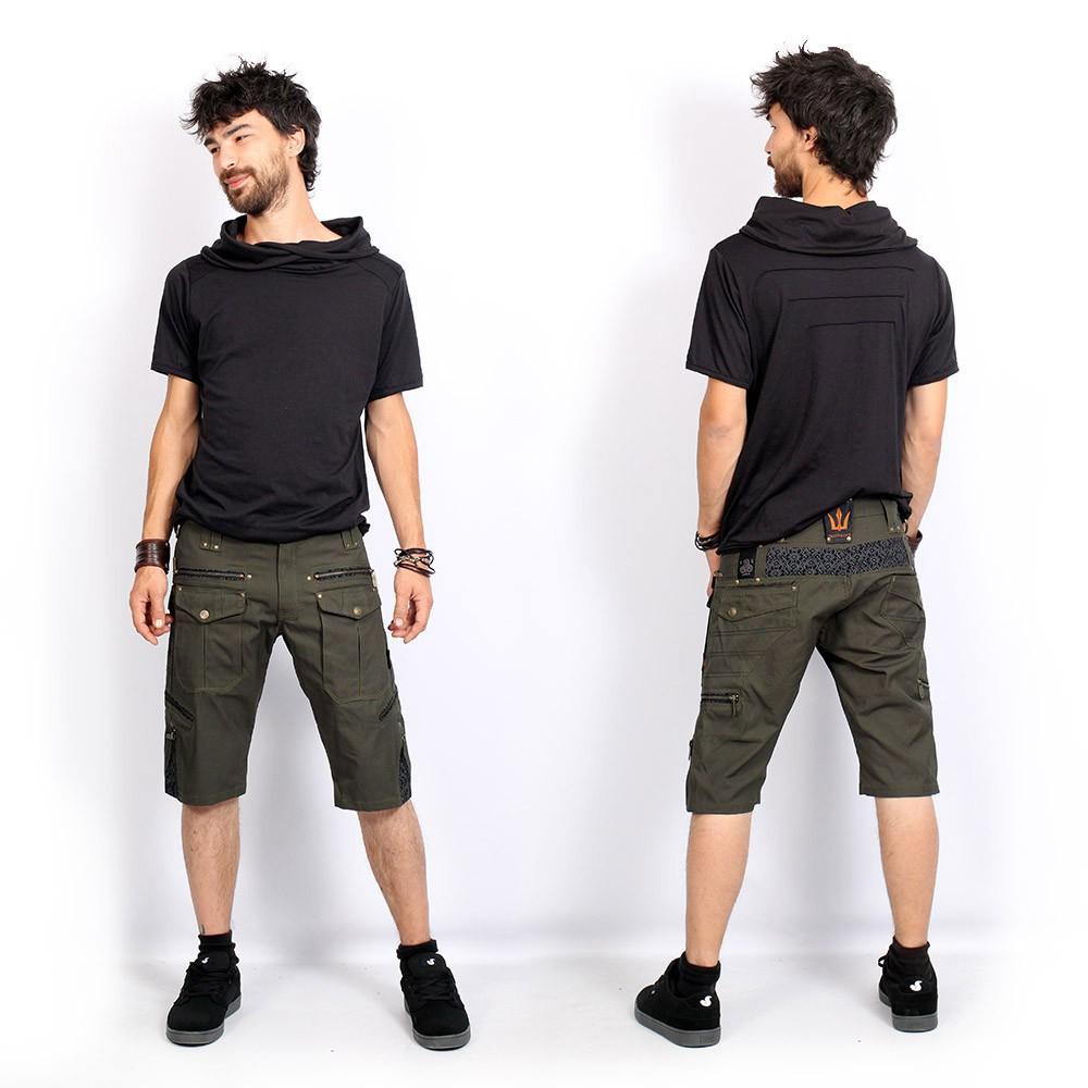 "\""Shiva\"" shorts, Dark khaki green"