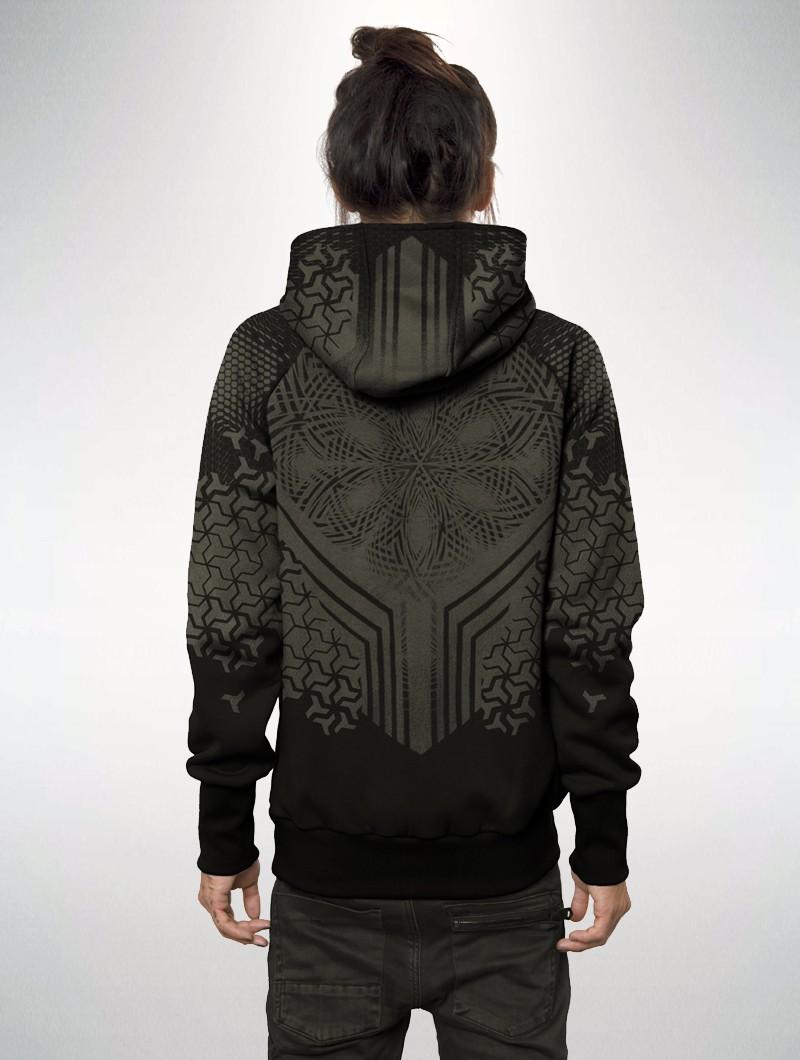 "\""Shuriken\"" zipped hoodie, Black"