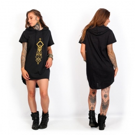 """Singha\"" unisex hooded long t-shirt, Black"