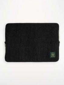 "\""Siraha\"" laptop case, Black hemp and cotton"