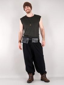 "\""Sirthaal\"" pocket money belt, Black faux leather"