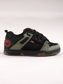 Skate shoes DVS Comanche, Black and olive green leather with orange details
