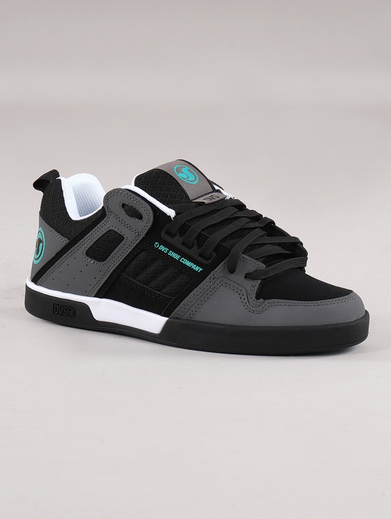 Skate shoes DVS Comanche 2.0+, Black and grey leather with turquoise details