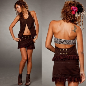 "Skirt \""funky wrap\\\"", brown"