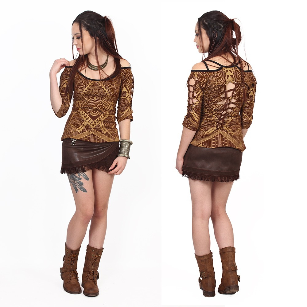 """Skirt Luna \""""Funky wrap\"""", Fake leather brown"""