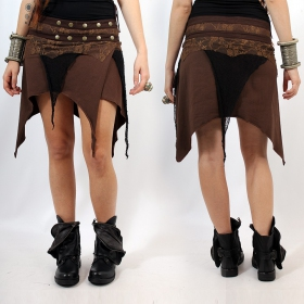 "Skirt Luna ""Lush Layers Wrap Around\"", Brown with Black and brown Lace"