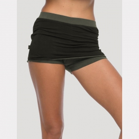 """Skirted shorts\"", Black and khaki"