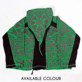 """Skywalker Haida\"" pointy hooded jacket, Green and black"